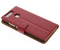 Knitterleder Booktype Hülle Rot für Huawei P9