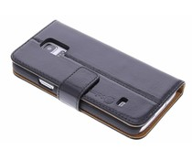 Selencia Luxus Leder Booktype Hülle für Samsung Galaxy S5 Mini - Schwarz