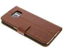 Selencia Luxus Leder Booktype Hülle für Samsung Galaxy S7 Edge - Kastanienbraun