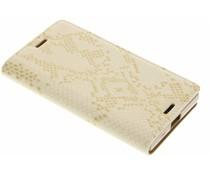 Luxus Schlangen TPU Booktype Hülle Gold für Sony Xperia X Compact