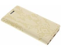 Luxus Schlangen TPU Booktype Hülle Gold für Huawei P9