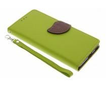 Blatt-Design TPU Booktype Hülle Grün für Sony Xperia XA