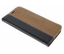 Holz Leder Design Booktype Hülle für Samsung Galaxy S8 Plus