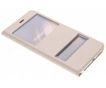 Goldfarbenes Slim Booktype Hülle mit Sichtfenster Huawei P10 Lite