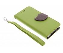 Blatt-Design TPU Booktype Hülle Grün für Samsung Galaxy A3