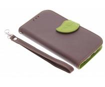 Blatt-Design TPU Booktype Hülle Braun für das Samsung Galaxy S3 / Neo
