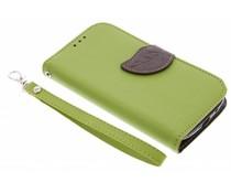 Blatt-Design TPU Booktype Hülle Grün für das Samsung Galaxy S3 / Neo