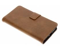 Kastanienbraune Luxus Leder Booktype Hülle für Motorola Moto G5S
