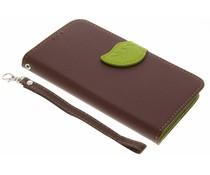 Blatt-Design TPU Booktype Hülle Braun für Motorola Moto G5 Plus