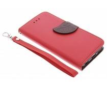 Blatt-Design TPU Booktype Hülle Rot für iPhone 5c