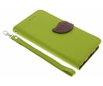 Blatt-Design TPU Booktype Hülle Grün für das Huawei P10 Plus