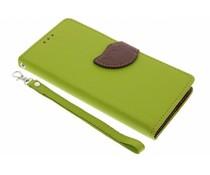 Blatt-Design TPU Booktype Hülle Grün für das Huawei Y6
