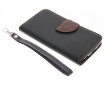 Schwarzes Blatt-Design TPU Booktype Hülle für das LG K4