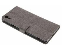 Leinen Booktype Handyhülle Grau für das Sony Xperia XA1 Ultra