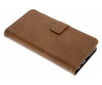 Luxus Leder Booktype Hülle Kastanienbraun für Huawei P20 Lite