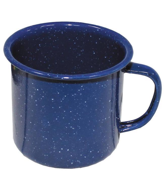 Beker, emaille, Blauw, 8 centimeter diameter, 350 ml