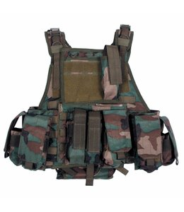 """Tactical vest """"Ranger"""" Modu., woodland camouflage, 5 bags and pouches"""