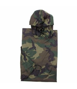 US Poncho, Rip Stop, woodland camouflage, size:144 x 223 cm
