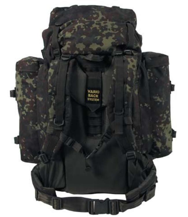 """BW Rugzak, """"Mountain"""", BW camouflage, met 2 side bags"""