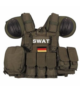 "Tactical vest ""Combat"" Mod., OD Groen, bags and pouches, quick remove"