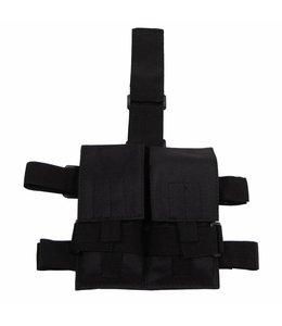 Tactical Been Pouch, Zwart, voor 2 magazijnen