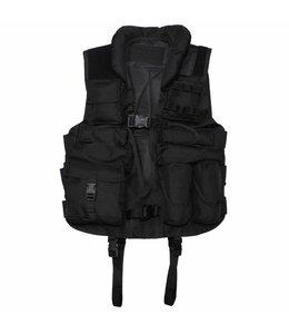 Tactical Vest, with leder, Zwart
