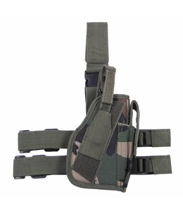 Tactical Holster, woodland camouflage leg- and belt fixing, right