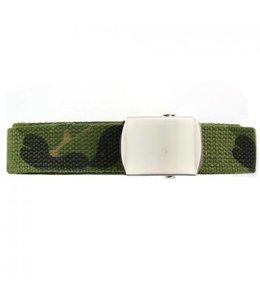 Tropenkoppel schuifriem met chrome buckle, 30mm Woodland camo