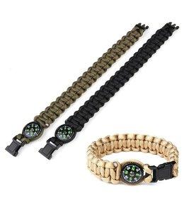Paracord armband Kompas  8 inch Zwart