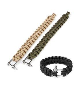 Paracord armband iron buckle K2020 9 inch Zwart