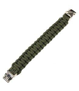 Paracord bracelet silver buckle K2139 8 inch Groen