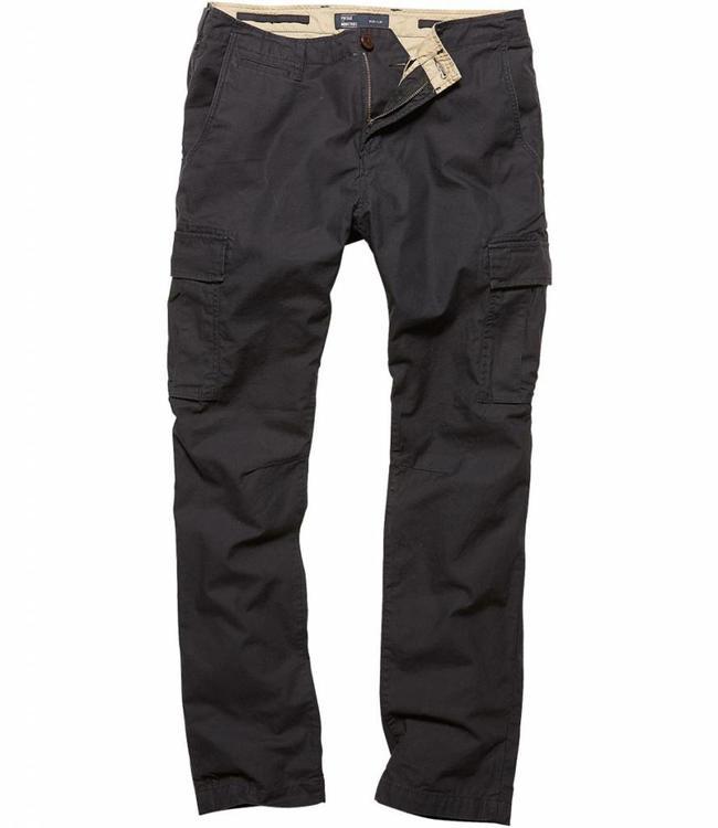 Vintage Industries Mallow pants off black cargo broek