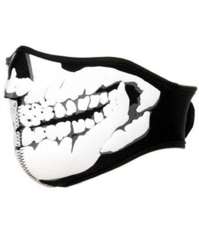 Motor masker 3D doodskop skelet print Wit