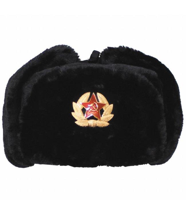 Russische Bontmuts, Zwart, met hamer en sikkel embleem