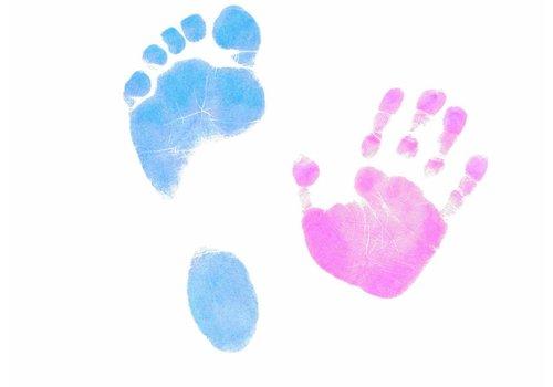 Dactek Gekleurde Dactek voet- en handafdrukset