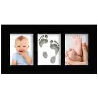 Babygalerierahmen mit Magic Footprints Abdruckset für Fuß- und Handabdruck in schwarz