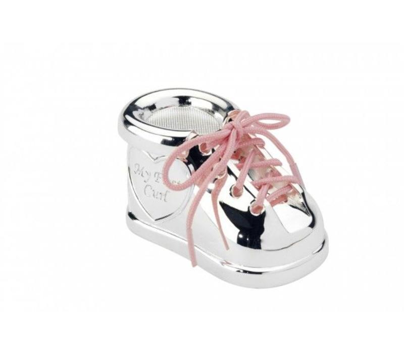 Boîte pour dent de lait et mèche de cheveux, Chaussure à lacets bicolores