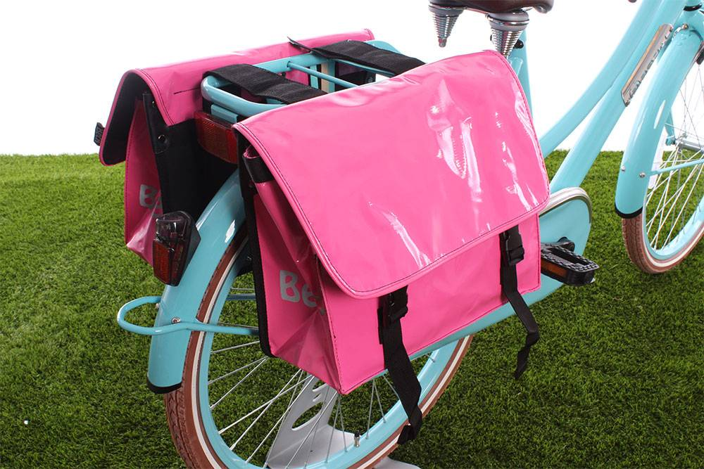 Roze fietstas - dubbele roze fietstas