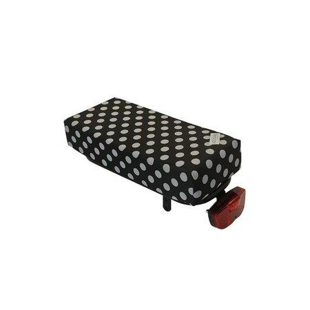 Hooodie Big Cushie White Small Dots - zacht en vrolijk fietskussen voor op bagagedrager