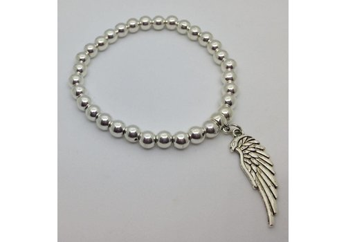 Elasticated Angel Wing Charm Bracelet