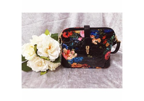 Black FLORAL CROC EFFECT Handbag