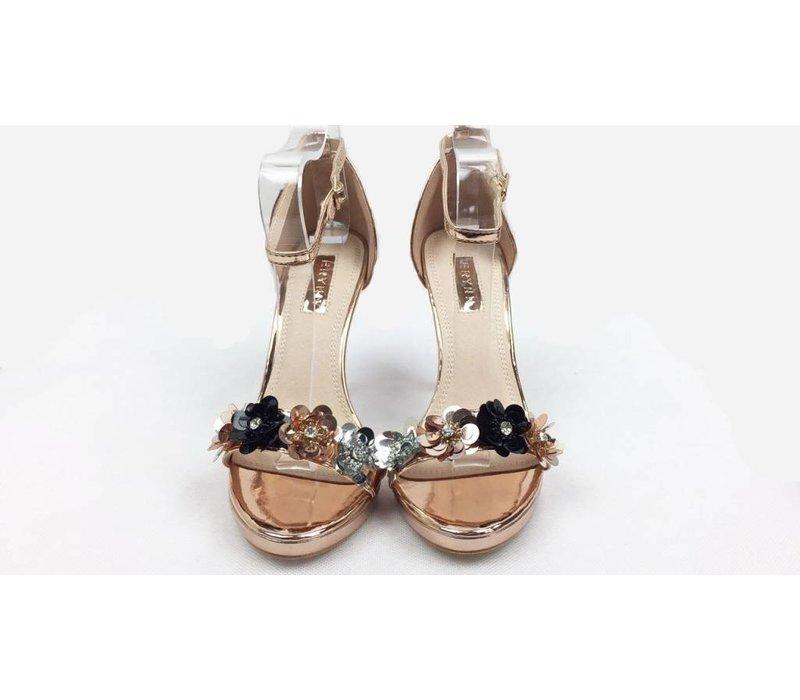 Rose Gold 3D Flower Heels