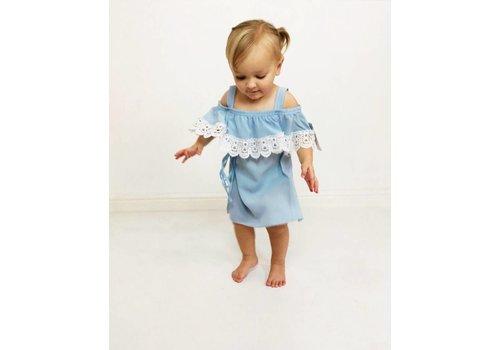 ISLA Blue + White Lace Cold Shoulder Dress