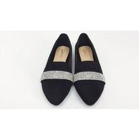Black Suede Diamante Loafers