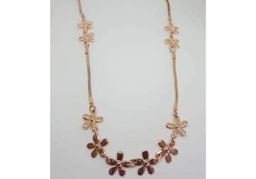 Rose Gold Daisy Chain Long Necklace