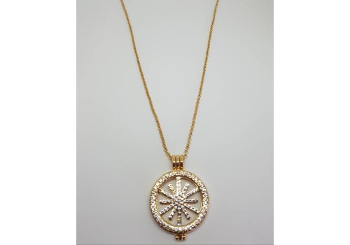 Gold Diamante Star Disc Necklace
