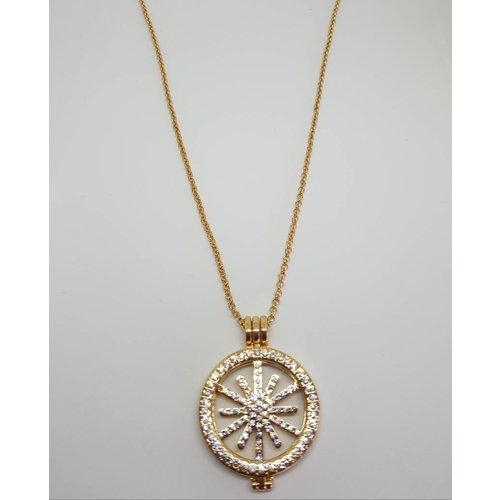 Gold Diamante Star Disc Keeper Pendant Necklace
