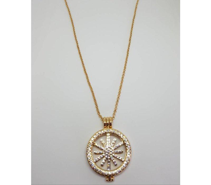 Gold Diamante Star Disc Necklace