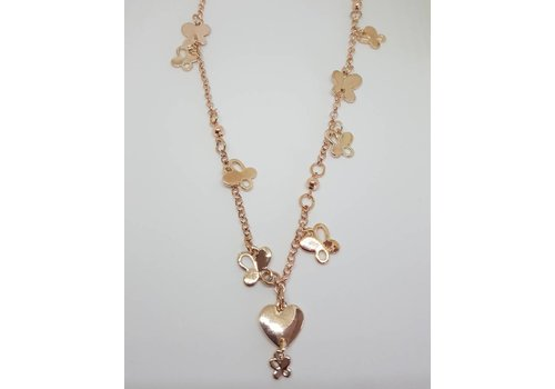 Rose Gold Heart & Butterfly Charm Necklace