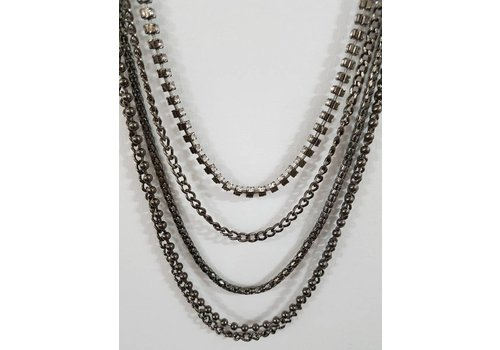 Gunmetal Multi Chain Gem Necklace